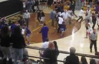Wow: High School basketball brawl between players and fans in Indiana