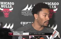 """Derrick Rose speaks to the media & says """"good chance"""" he will play again this season"""