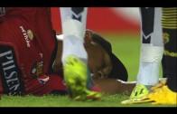 Maximo Banguera fake faint to avoid red card?