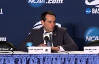 Mike Krzyzewski & Duke players speak to the media following route of Robert Morris