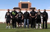 Oklahoma football players demonstrate & Head coach Bob Stoops speaks