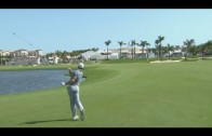 Rory McIlroy dashes his club into the water at the Cadillac Championship