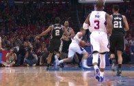 Blake Griffin stutters steps by Boris Diaw for the slam