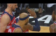 Bradley Beal taunts Kyle Lowry with hand wave after fouling out