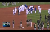 Brett Lawrie wipes out Escobar in slide & benches clear