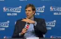 Dirk Nowitzki gets violent on a microphone post game