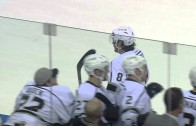 Drew Doughty blasts home a slap shot from center ice