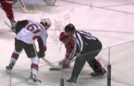 Drew Miller takes skate to the face from Mark Stone
