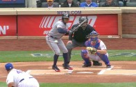 Eric Young Jr. bloops a bunt into the outfield