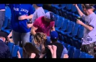 Jays fan attempts to catch foul ball & gets beer all over him instead