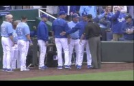 Kelvin Herrera throws behind Lawrie & threatens him