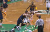 Kevin Love has his shoulder disclocated on this play from Olynk