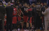 Kyle Lowry punches chair in frustration