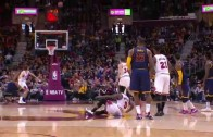 Kyrie Irving knocks down half court heave to beat the buzzer