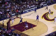LeBron James drops the behind the back no look dime