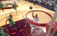 LeBron James throws down the alley-oop from Kyrie Irving