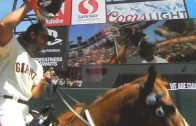 Madison Bumgarner rides in on a horse for Giants Opening Day