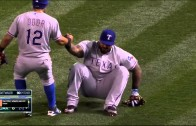 Prince Fielder tumbles down on foul ball pop out