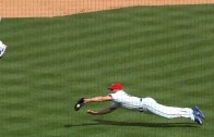 Rangers pitcher Anthony Bass makes a diving catch on a bunt