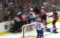 Scott Gomez laid out by Alexei Emelin & responds with an elbow to the face