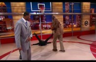 Shaquille O'Neal plows over Isiah Thomas on Inside The NBA