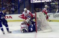Steven Stamkos cross checked face first into cross bar