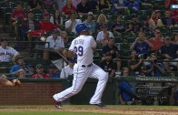 Adrian Beltre hits the ball twice on one swing