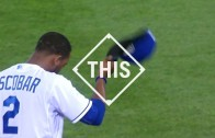 Alcides Escobar makes the no-look flip to 2nd base