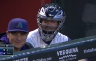 Archie Bradley almost hit with foul ball & puts on catchers mask