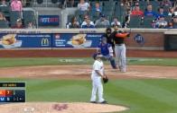 Giancarlo Stanton sends a solo home run into the second deck at Citi Field