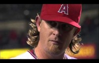 Jered Weaver gets hit with bottle during interview & gives death stare