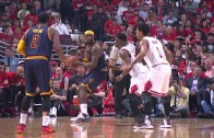 LeBron James throws down the hammer after a spin move