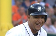 Miguel Cabrera has a good chuckle over legging out a triple