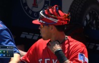 Rangers stack sunglasses on Robinson Chirino's hat