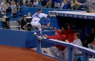 Russell Martin jumps into the Angels' dugout