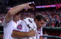 Ryan Zimmerman gets drenched in chocolate sauce