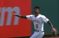 Starling Marte jumps & robs a homer from Christian Yelich