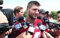 Tim Tebow speaks to the media about returning to football