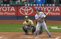 Zack Greinke flips bat like Puig after double