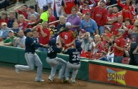 3 Milwaukee Brewers collide on attempted foul grab