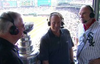 Blackhawks head coach Joel Quenneville brings the Stanley Cup to White Sox booth