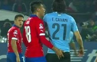 Chile's Gonzalo Jara sexually assualts Uruguay's Edinson Cavani