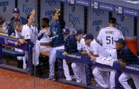 Chris Archer & David DeJesus do a trippy dance to Souza's walk up music