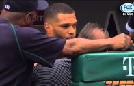Footage of Robinson Cano's forehead after being struck by errant throw in the dugout