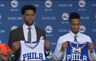 Jahlil Okafor doesn't look very thrilled in Philadelphia 76ers press conference