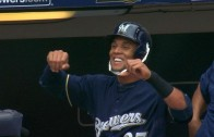 Jokes: Carlos Gomez tapes a strap to his helmet & Torii Hunter pokes fun at him