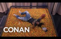 Marshawn Lynch dives into an endzone full of skittles!