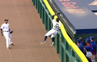 Rajai Davis goes up high to pull back a homer from David Ross