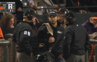 Weird play: Buster Posey called out on fan interference in the 8th