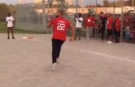 Drake playing kickball at P. Reign's charity event